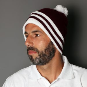 Bobble hat claret and white £10