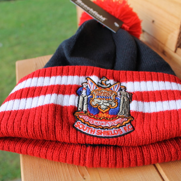 Bobble hat red white and blue