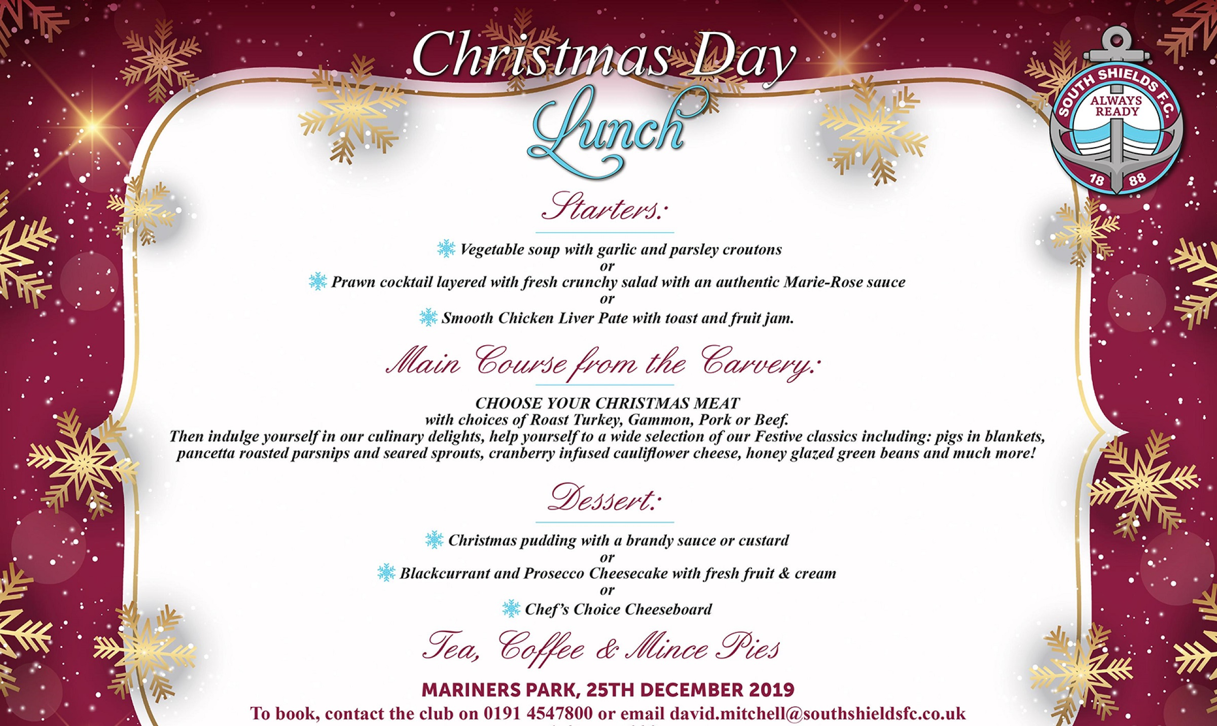 Get booked in for Christmas Day lunch at Mariners Park!